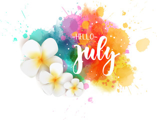 Hello July - floral summer concept background