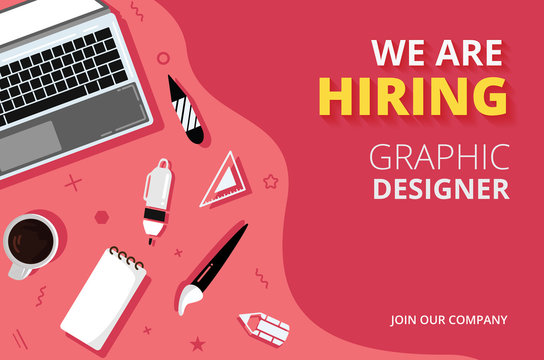 Business hiring and recruiting concept banner background. We are Hiring design template for website graphic designer - Vector illustration