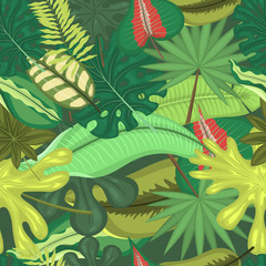 Photo sur Plexiglas Dinosaurs Tropical leaves seamless pattern vector illustration. Summer time. Amazing palms. Jungle leaves, split leaf, philodendron plant. Vacation and rest in nature. Rainforest trees.
