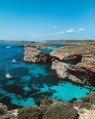 Obraz Blue lagoon in Comino Island, Malta. Nature summer seascape in Malta. Travel and tourism in malta.  - fototapety do salonu