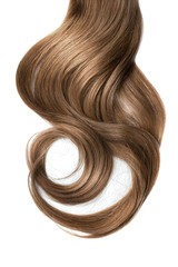 Long wavy brown hair on white background. Ponytail
