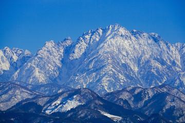 Tateyama Mountain Range seen from Toyama Plain in Japan.  Mt, turugidake. 富山平野から見た立山連峰 剱岳