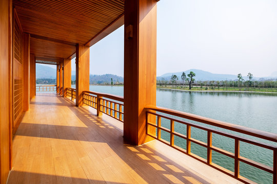 Beautiful Japanese Conservative Wood Terrace and Fence with Outdoor Pagola and Lake