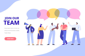Wall Mural - Young people vector set. Join our team concept. Creative team characters. Discussion people. Team thinking and talking. Flat vector illustration.