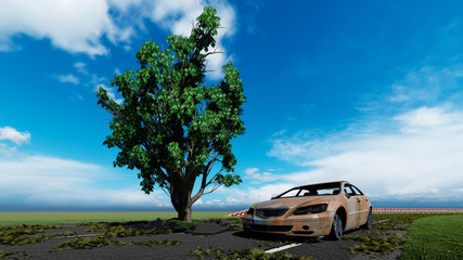 Image of a tree growing on the road 3D illustration