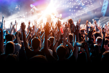 A man with his hands up at a concert of his favorite group.