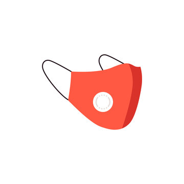 Red medical dust protective mask n95 with face protection of pollution air and dust.