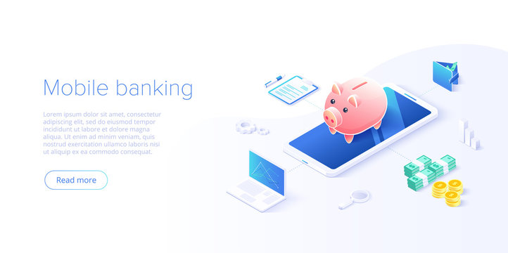 Money transfer via cellphone in isometric vector design. Digital payment or online cashback service. Mobile banking transaction concept. Withdraw deposit with smartphone.