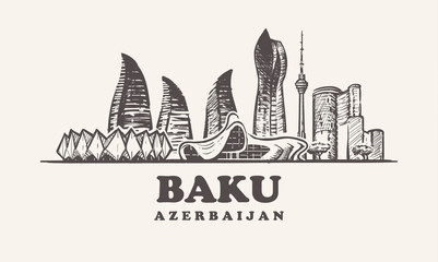 Fotomurales - Baku skyline,Azerbaijan vintage vector illustration, hand drawn buildings