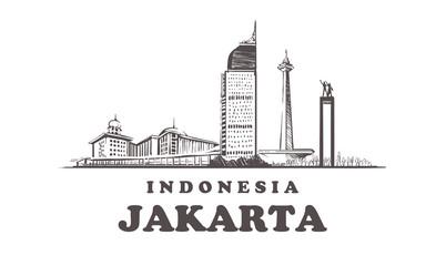 Fototapete - Jakarta sketch skyline. Jakarta, Indonesia hand drawn vintage vector illustration.