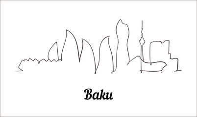Fotomurales - One line style Baku sketch illustration on white background.