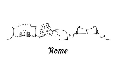 Fotomurales - One line style Rome sketch illustration on white background.