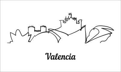 Fotomurales - One line style Valencia sketch illustration on white background.