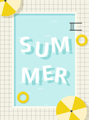 Foto op Plexiglas Retro sign retro pool summer poster