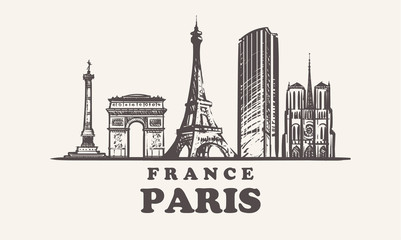 Fotomurales - Paris skyline,France vintage vector illustration, hand drawn buildings