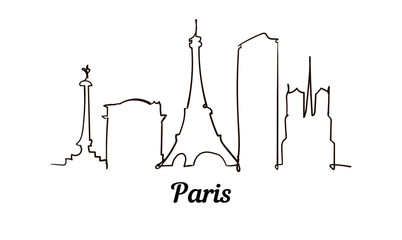 Fotomurales - One line style Paris sketch illustration isolated on white background.