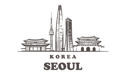 Fotomurales - Seoul sketch skyline. Korea, Seoul hand drawn vector illustration.