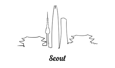 Fotomurales - One line style Seoul skyline. Simple modern minimaistic style