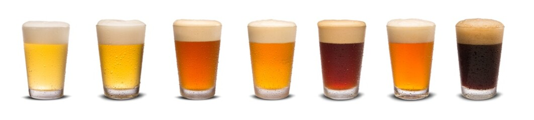 Stores photo Alcool Set of many beer glasses with different beer isolate on white background.