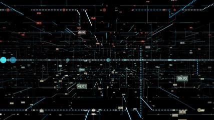 3D Digital looping Technology Network Big Data background.