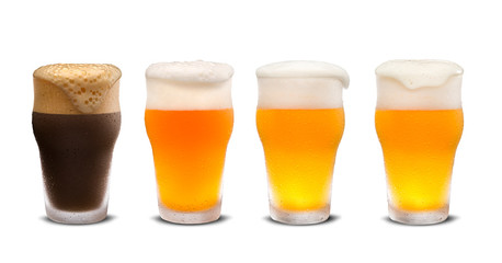Set of many beer glasses with different beer isolate on white background.