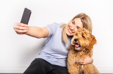 woman with his Golden Labradoodle dog isolated on white background