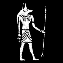 Fototapeta Anubis The god of Egypt Drawing of the Godfor the design of t-shirts or tattoos. obraz