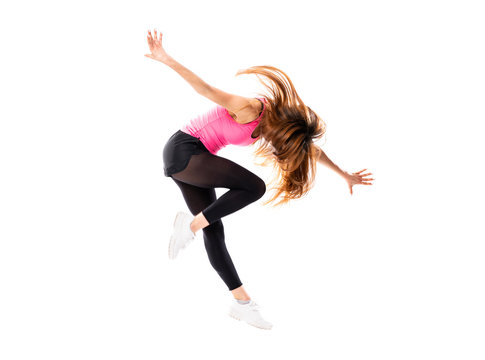 Young dance girl over isolated white background jumping