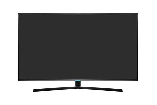Modern blank flat screen TV set isolated on a white background.