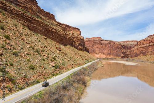Fruita, Colorado, USA April 8, 2019: VW Vanagon Camper van driving