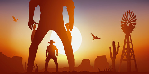 Concept du duel dans le farwest aux Etat-Unis, avec un face à face tragique entre deux cowboys. Ils sont armés de leurs revolver et s'apprêtent à ouvrir le feu.