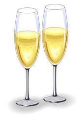 Two beautiful crystal glasses of champagne wine. Decoration of the festive table for the New Year, Christmas, Valentine s Day. Vector illustration