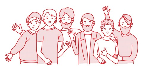 Group of smiling teenage boys, friends standing together, embracing each other, waving hands. Happy students isolated on white background.