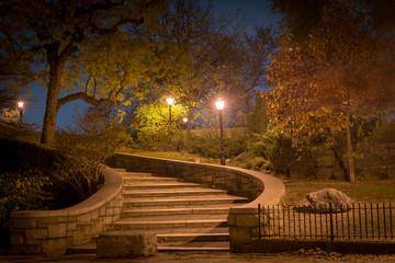 Curved stairway leading upward at night, Carl Schurz Park, New York City