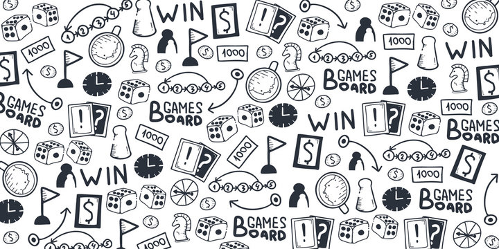 Board Games hand draw doodle background. Vector Illustration.