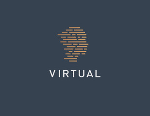 Creative linear logo line icon in the shape of a human head virtual reality