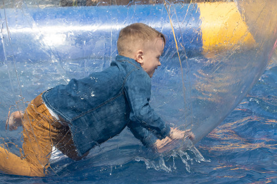 Water or aquac zorbing. Children play inside the inflatable transparent ball floating in swimming pool. Water walking or zorbing very popular fun activity and suitable for all ages.