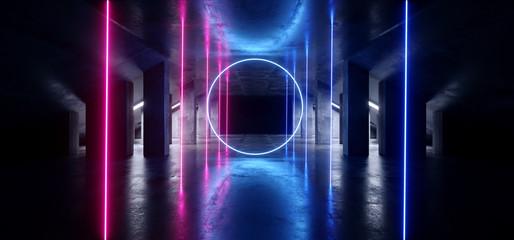 Circle Glow Sci Fi Neon Modern Futuristic VIbrant Glow Purple Blue Laser Show Stage Track Path Entrance Gate Underground Garage Hall Tunnel Corridor Glossy Dark Club Spaceship 3D Rendering