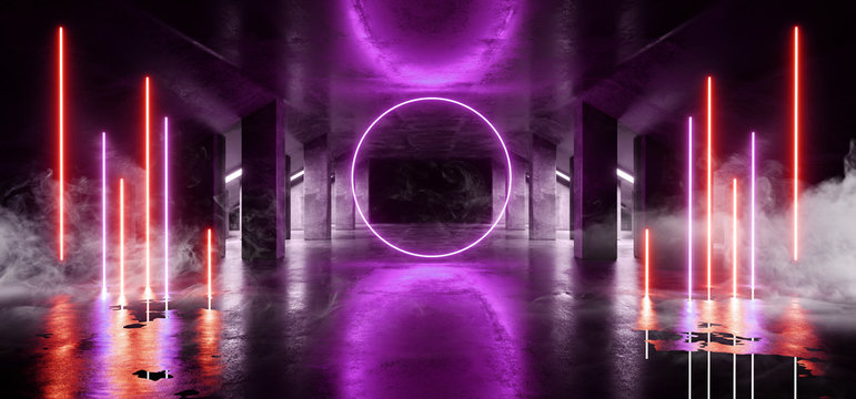 Smoke Circle Glow Sci Fi Neon Modern Futuristic VIbrant Glow Purple Blue Orange Laser Show Stage Track Path Entrance Gate Underground Garage Hall Tunnel Corridor Glossy Dark Spaceship 3D Rendering