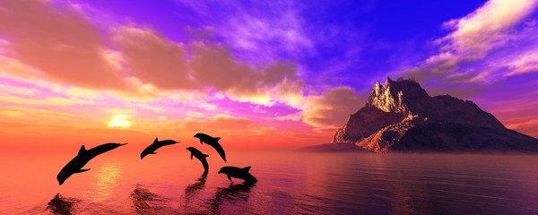 Poster Coral Dolphins playing at sunset near the island