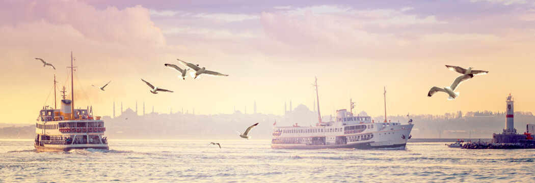 Panorama of Istanbul in sunset.