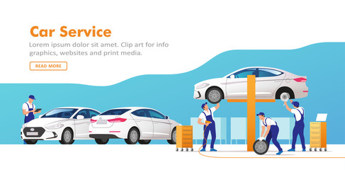 Auto service and repair. Cars in maintenance workshop with mechanics team. Vector illustration.