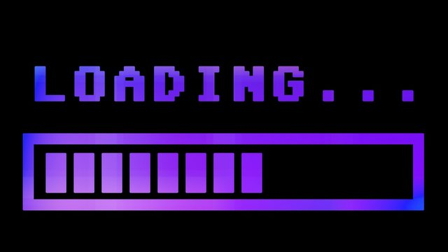 8-bit retro style loading text with progress bar, with a purple grading and fading.