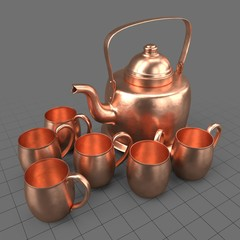 Copper kettle and mugs