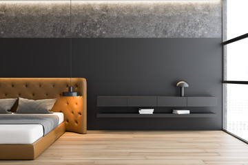 Gray and concrete master bedroom with brown bed