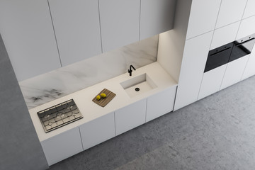 Top view of white kitchen countertops