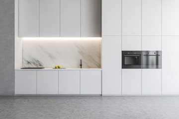 White kitchen interior with countertops