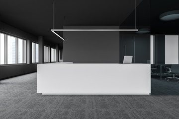 Reception table in modern gray office