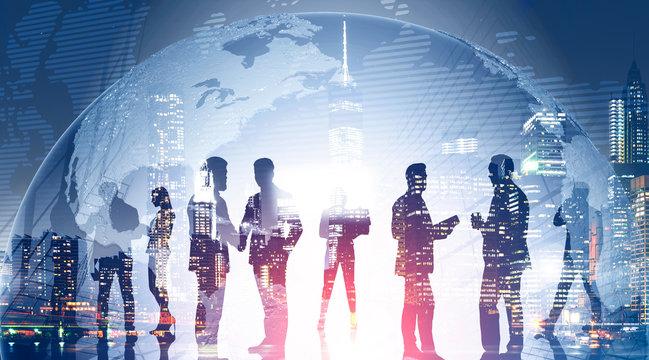 Business team in global world. International firm