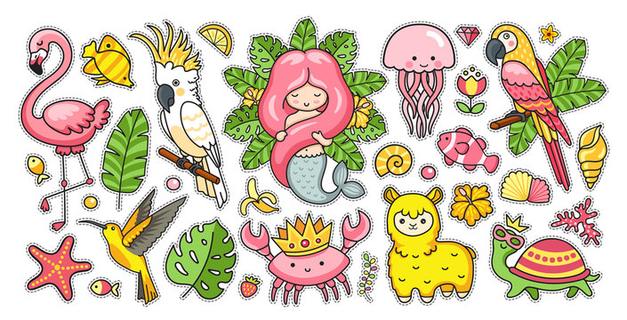 Big set of tropical summer stickers with gorgeous mermaid, cute jellyfish, pink flamingo, alpaca, colibri, cockatoo, macaw, turtle, crab in the crown. Kawaii cartoon characters. Vector illustration